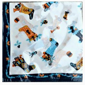 Silk Square Christmas New Year Socks Print Scarf